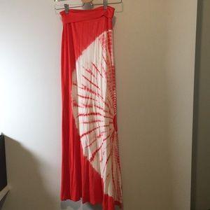 Peach/coral starburst maxi skirt